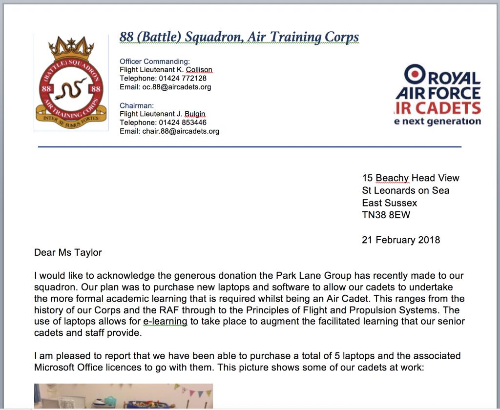 Battle Squadron Letter