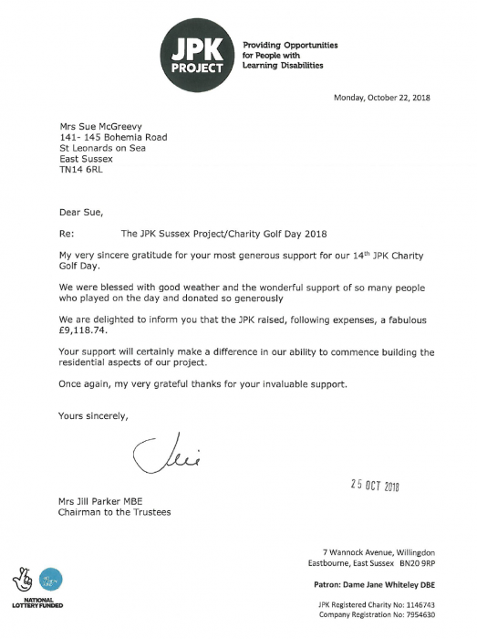 Letter of thanks from the JPK Project