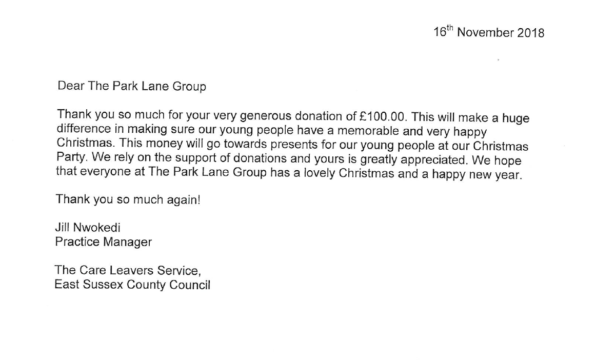 East Sussex Care Leavers Service Thank you letter