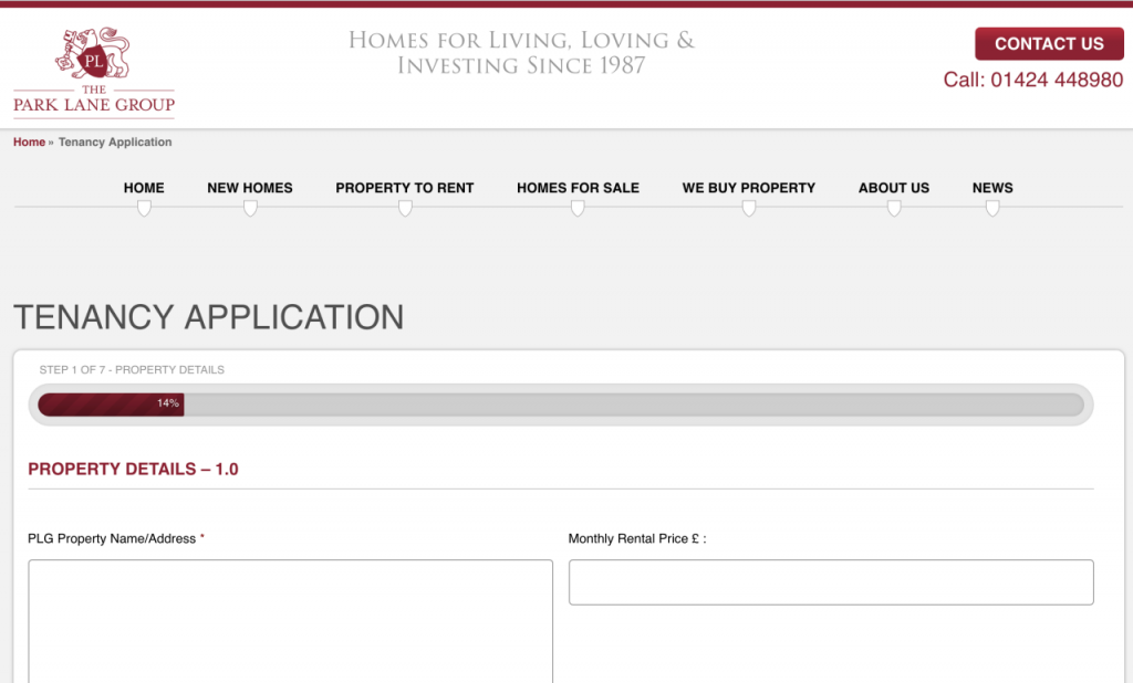 Online Tenancy Application form